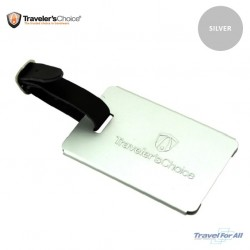 Traveler's Choice Aluminium Luggage tag ID sold by TRAVEL FOR ALL  (Silver)