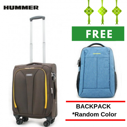 "HUMMER Soft Luggage 3 Colours Cabin Size 19"" with FREE 15"" Laptop Backpack"