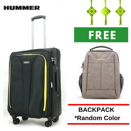 "HUMMER Soft Luggage 3 Colours Medium Size 24"" with FREE 15"" Laptop Backpack"