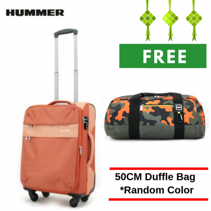 "HUMMER Soft Luggage 3 Colours Cabin Size 20"" with FREE Duffle Bag"