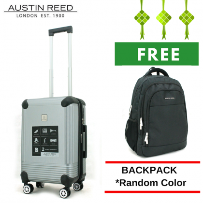 "Austin Reed Luggage ABS Cabin 20"" (Grey/Silver) with FREE 19"" Laptop Backpack"