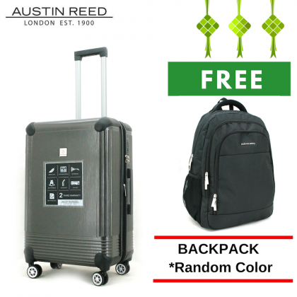 "Austin Reed Luggage ABS Medium 24"" (Grey/Silver) with FREE 19"" Laptop Backpack"