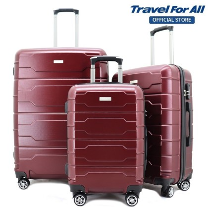"FLYASIA Luggage Combo Set (Size 20+24+28"") (Dark Grey/Maroon)"